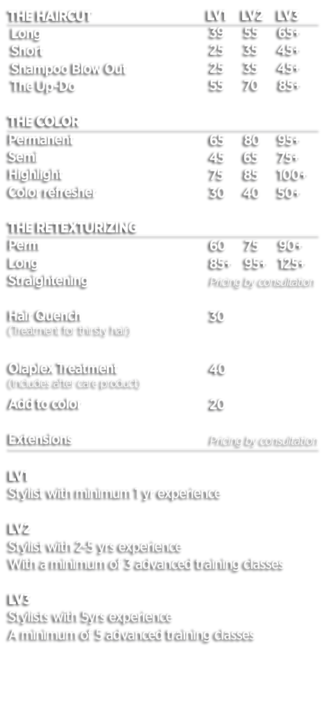 Suede Salon Sacramento Hair Menu